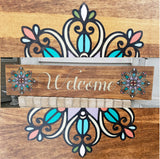 Welcome Mandala Wood Wall Art Sign Hand crafted hand painted home decor