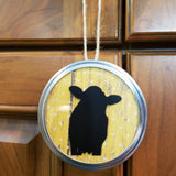 Set of 2 Cow Yellow Polkadot Barnwood Large Jar Lid Ornament Hanging Decor (customizable background)