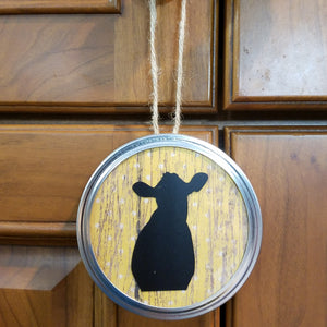 customizable yellow polka dot jar lid ornament art hanging decor cow rustic country farmhouse ranch dairy farm animal western wall art