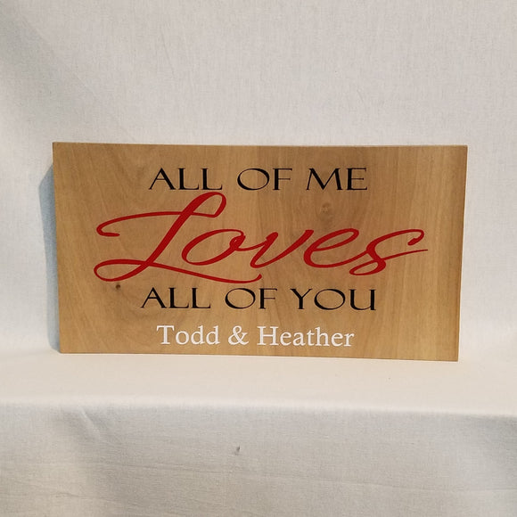 Custom all of me loves all of you Personalized Wood Wall Art Sign Home Decor Unique Welcome Wedding Proposal Family Couple