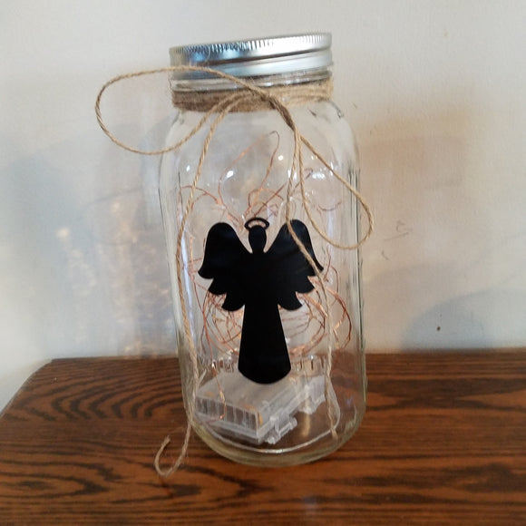 Angel Silhouette Light Jar Decor Farmhouse Memorial Religious Christmas