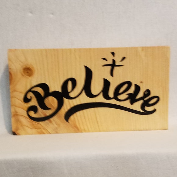 Believe in Jesus Cross Christ table top wood sign country inspirational religious humorous pine rustic home decor gift christian funny sunday school teacher youth leader pastor rustic cabin farmhouse