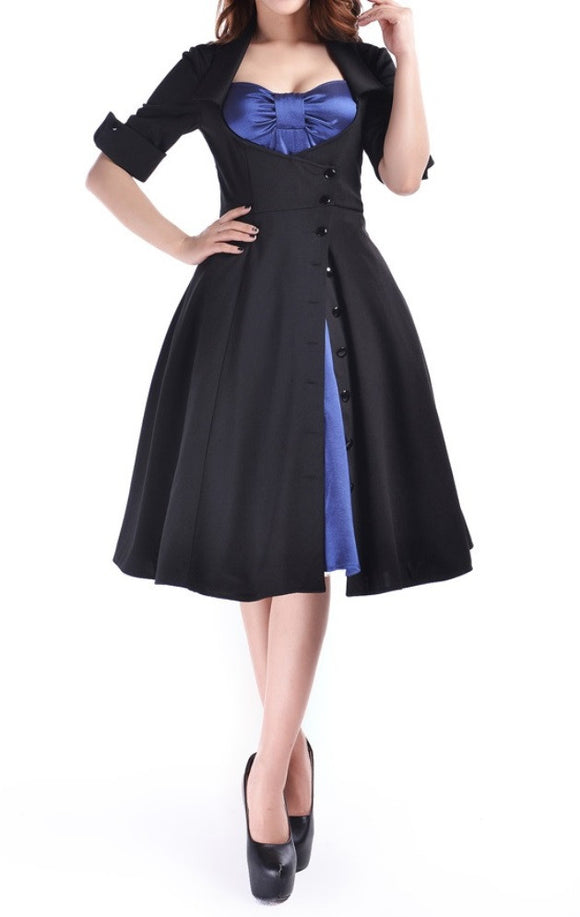 Black Blue Satin Dot Mock Double Full Skirt Swing Dress Retro Pinup Rockabilly Corseted 50s Plus Size Gothic