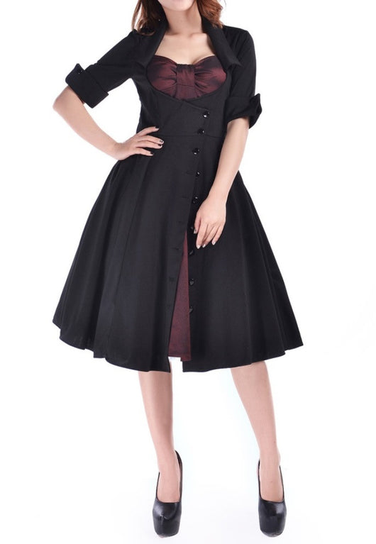 Black Burgundy Satin Dot Mock Double Full Skirt Swing Dress Retro Pinup Rockabilly Corseted 50s Plus Size Gothic