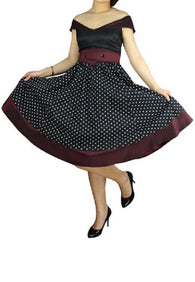 Burgundy Black Polka Dot retro 50s sailor style rockabilly vintage  plus size dress