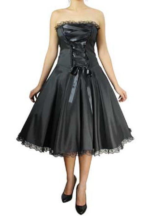 Strapless Black Corset Front Lace Accent Dress (Available in Size 14 only)
