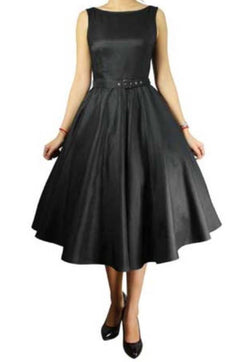 Black Satin Belted classic Full Skirt Swing Dress, Retro, Vintage, Pinup, 50s