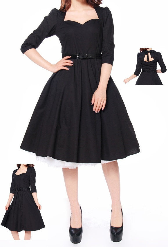 Black Pinup Dress Sweetheart Neck Open Back 50s Rockabilly Retro