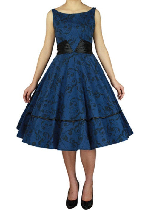 Blue Print Cotton with Wide Satin Sash Bow in Back Classic Full Skirt Swing Dress (Available in sizes 18 (1X), 18 Plus & 24 Plus)