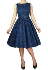 Blue Cotton Sleeveless Belted Classic Full Skirt Swing Dress Retro 50s Pinup Vintage Plus Size