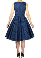 Blue Print Cotton Belted Classic Full Skirt Swing Dress