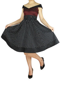 Black Burgundy Satin Dot Sailor Style Full Skirt Swing Dress Retro Pinup Rockabilly 50s Plus Size
