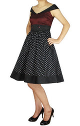 Black Burgundy Polka Dot Sailor Style Full Skirt Swing Dress (Available in size 18 Misses (1X) Only