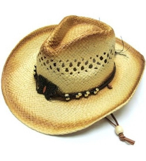 Natrual Tea Stained Cowboy Cowgirl Hat Youth Child Kid Size Butterfly