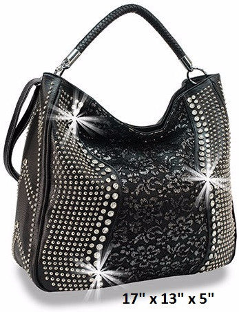 black lace rhinestone convertible shoulder handbag bag purse crossbody messenger