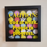caution god at work people in progress black framed shadowbox picture wall art home decor christian customizble
