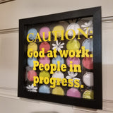 caution god at work people in progress black framed shadowbox picture wall art home decor christian