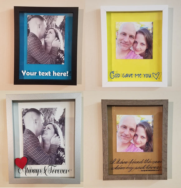 Custom Romantic Framed Shadow Box - We use your picture, choice of words, colors & frame choice!