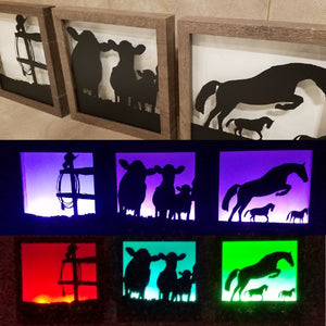 cowboy horse cow fence decor art lighboxes gift farmhouse cowgirl western pictures framed