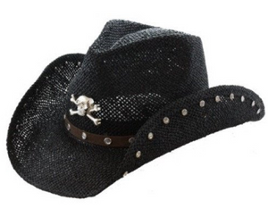 Black Cowboy Hat with Rhinestone Accents and Skull Emblem