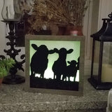 Cows, Horses & Cowboy Hat, Lasso Fence Handcrafted Framed Lightbox Set Wall Art or Table Top with Remote Control
