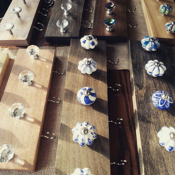 Custom Jewelry Accessory Organizer Rack (you choose stain color, number of knobs & knobs)