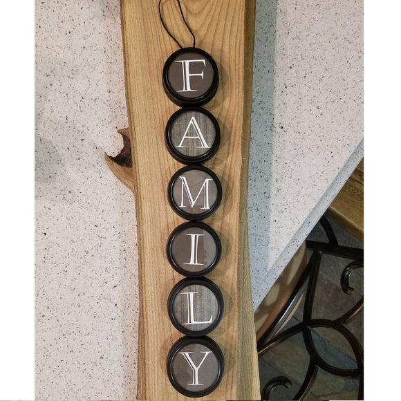 Family wall art hanging home decor country farmhouse gray jar lid art