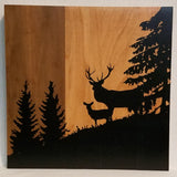 Deer on Hill with Trees Silhouette Handcrafted Poplar Wood Wall Art or Table Top Sign
