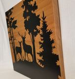 Deer Couple on Hill with Trees Silhouette Handcrafted Poplar Wood Wall Art or Table Top Sign