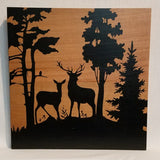 Deer couple trees forest silhouette wood wall art sign natural rustic handmade hand crafted