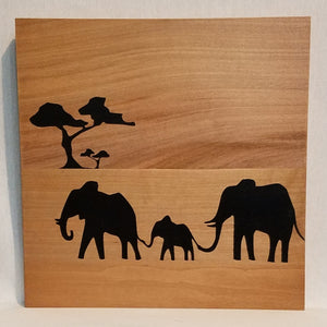 elephant family silhouette art wood wall sign home decor african safari rustic natural