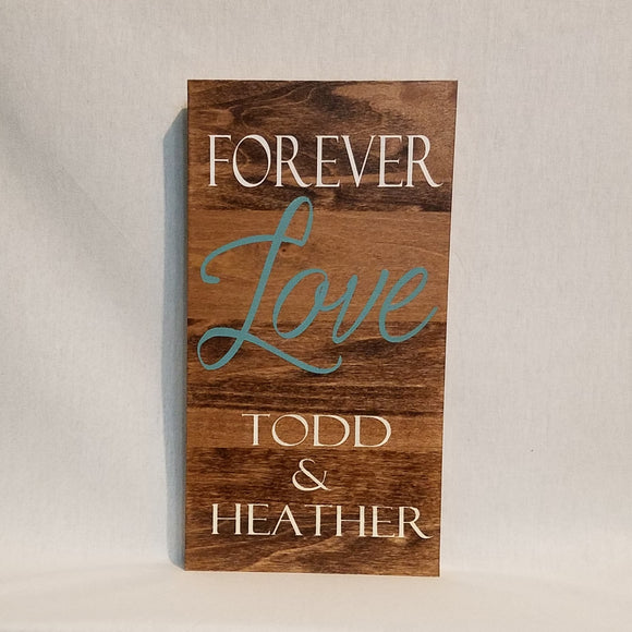 Custom forever love Personalized Wood Wall Art Sign Home Decor Unique Welcome Wedding Proposal Family Couple