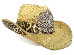 Olive & Pique Natural Leopard Print Rhinestone Cowboy Cowgirl Hat Crushable Formable