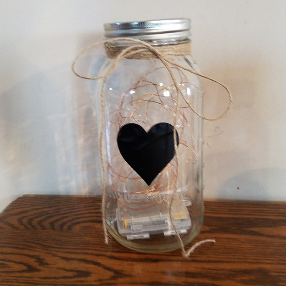 Heart Silhouette Light Jar Decor Farmhouse Love Romantic Anniversary