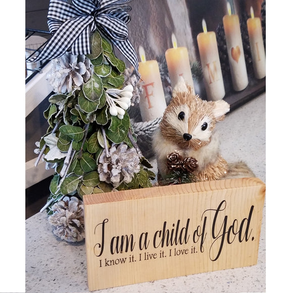 i am a child of God I know it I love it I live it table top wood sign country inspirational religious humorous pine rustic home decor gift christian funny sunday school teacher youth leader pastor rustic cabin farmhouse