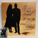 Silhouette Art Couple Husband Wife Anniversary Wedding Gift Shower Home Decor Custom Personalized Romanic Love Birthday Valentine's Day Gift I have found the one my soul loves song of solomon 3:4