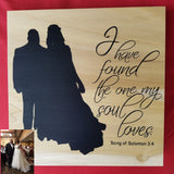 Silhouette Art Couple Husband Wife Anniversary Wedding Gift  Valentine's Day Shower Home Decor Custom Personalized Romanic Love Birthday Gift I have found the one my soul loves song of solomon 3:4