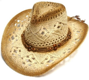 Natural Beaded Youth Size Cowboy Cowgirl Hat Kids Small