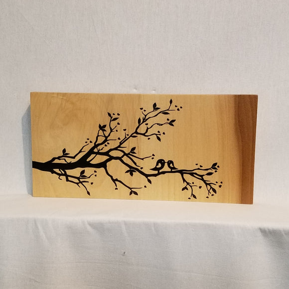 love birds tree branch wood wall art sign home decor