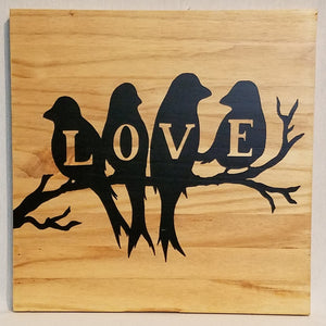 Love Birds Handcrafted Pine Wood Wall Art