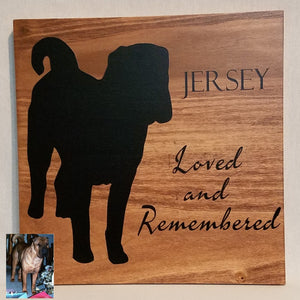 loved and remembered pet memorial pet death custom silhouette wood wall art sign natural personalized