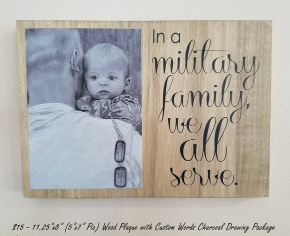 Custom Charcoal Artwork ADD ON Wood Plaque