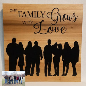 our family grows with love custom silhouette personalized wood wall art sign grandma grandpa gift mother's day father's day home decor natural