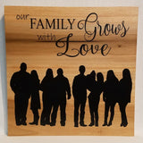 Custom Silhouette (from your photo) Our Family Grows With Love Handcrafted Poplar Wood Wall Art or Table top Sign
