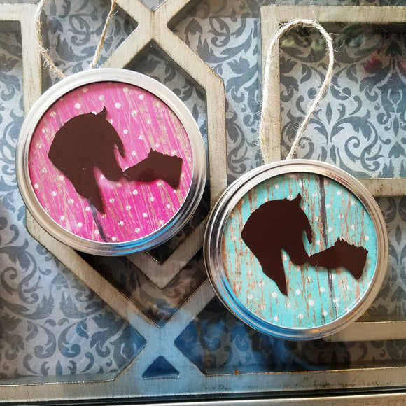 customizable pink turquoise polka dot jar lid ornament art hanging decor horses rustic country farmhouse ranch riding animal western wall art