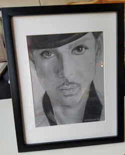 Prince Rogers Nelson Charcoal Portrait Drawing Framed Picture Wall Art Gift Fan