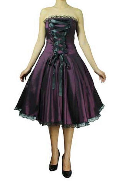 Strapless Purple Corset Front Lace Accent Dress (Available in 14, 18 (1X), 18 Plus and 22 Plus)