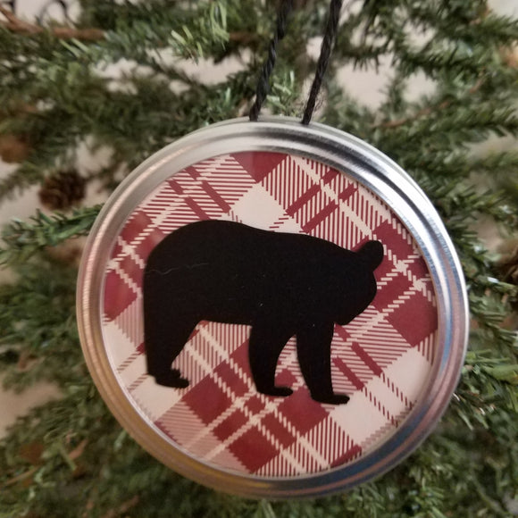 bear customizable woodland red plaid jar lid ornament art hanging decor christmas rustic country farmhouse ranch cabin forest animal buffalo wall art