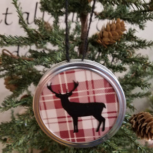 deer red plaid jar lid ornament art hanging decor christmas rustic country farmhouse ranch cabin forest animal buffalo wall art