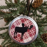 moose customizable red plaid jar lid ornament art hanging decor christmas rustic country farmhouse ranch cabin forest animal buffalo wall art